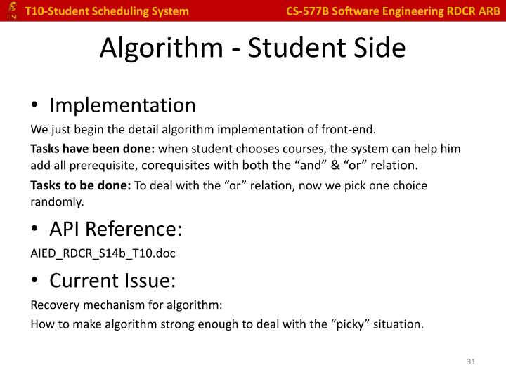 Algorithm - Student Side