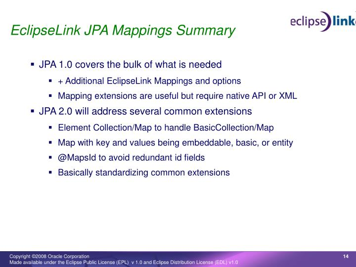 EclipseLink JPA Mappings Summary