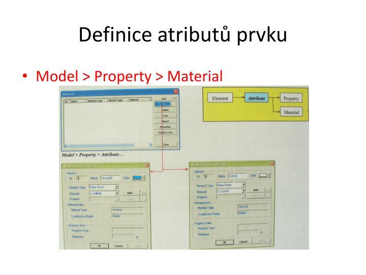 Definice atributů prvku