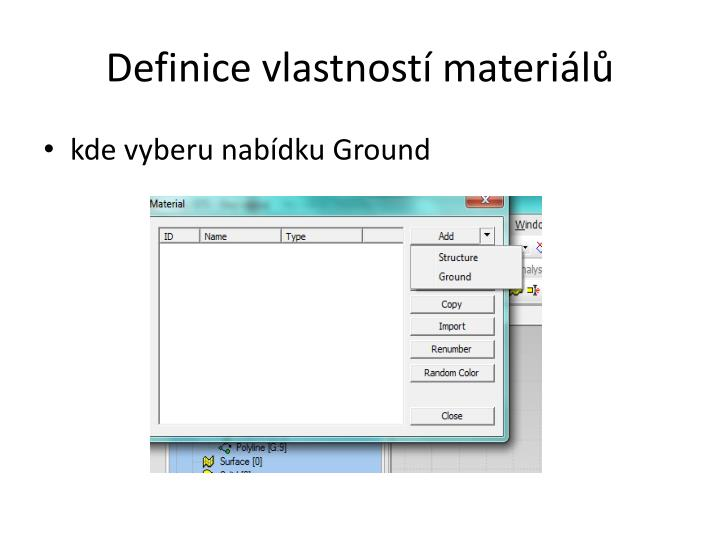Definice vlastností materiálů