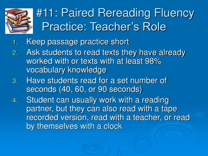 #11: Paired Rereading Fluency Practice: Teacher's Role