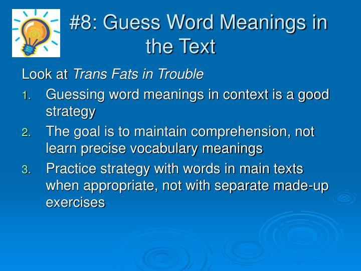 #8: Guess Word Meanings in the Text