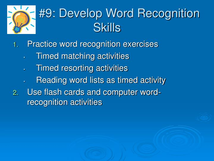 #9: Develop Word Recognition Skills