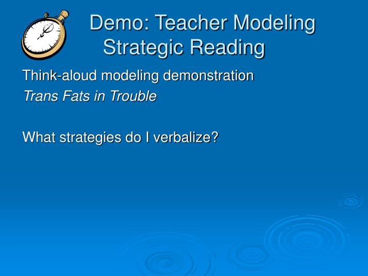 Demo: Teacher Modeling Strategic Reading