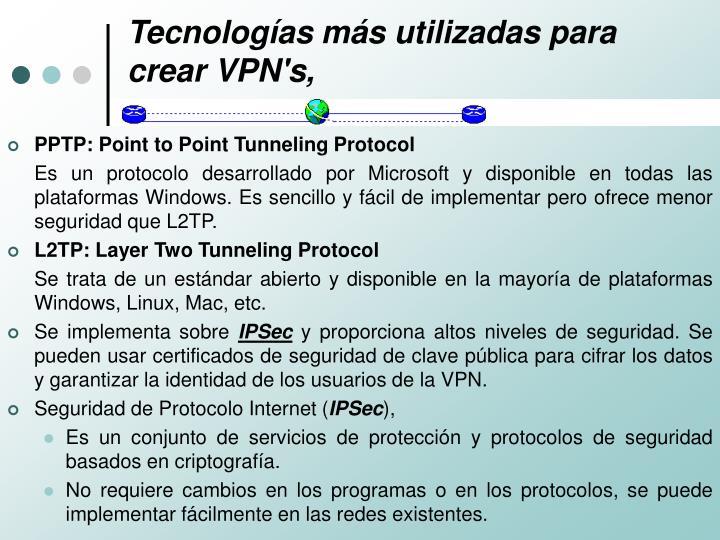 Tecnologías más utilizadas para crear VPN's,