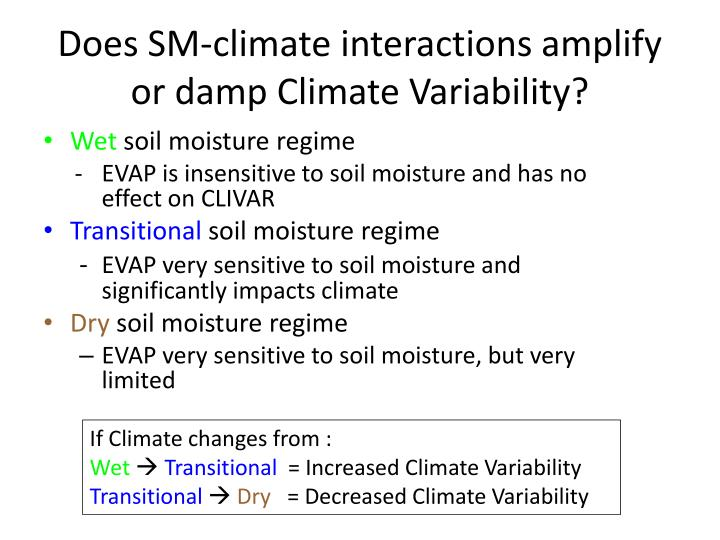 Does SM-climate interactions amplify or damp Climate Variability?