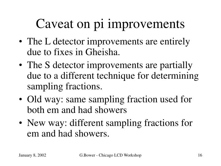 Caveat on pi improvements