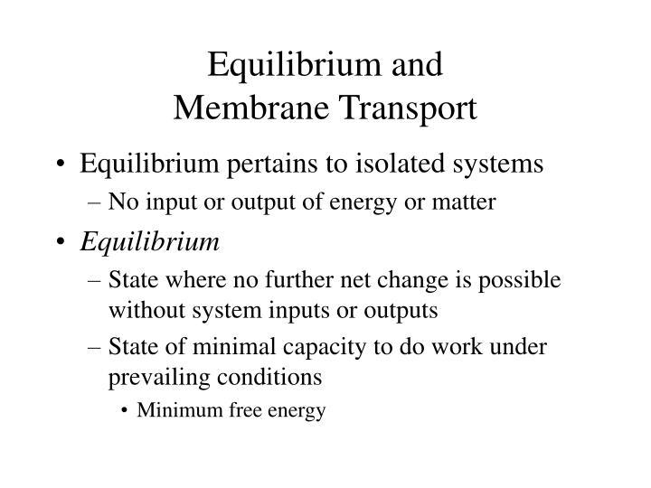 Equilibrium and