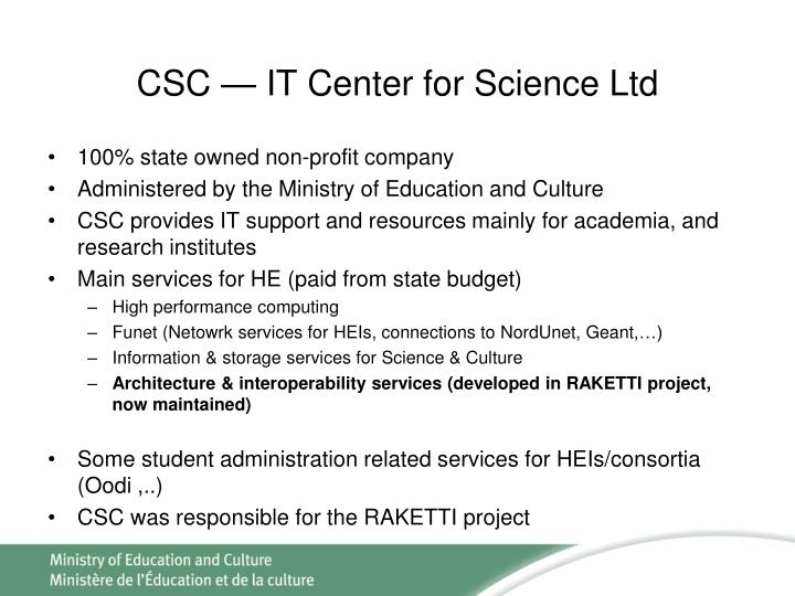 CSC — IT Center for Science Ltd