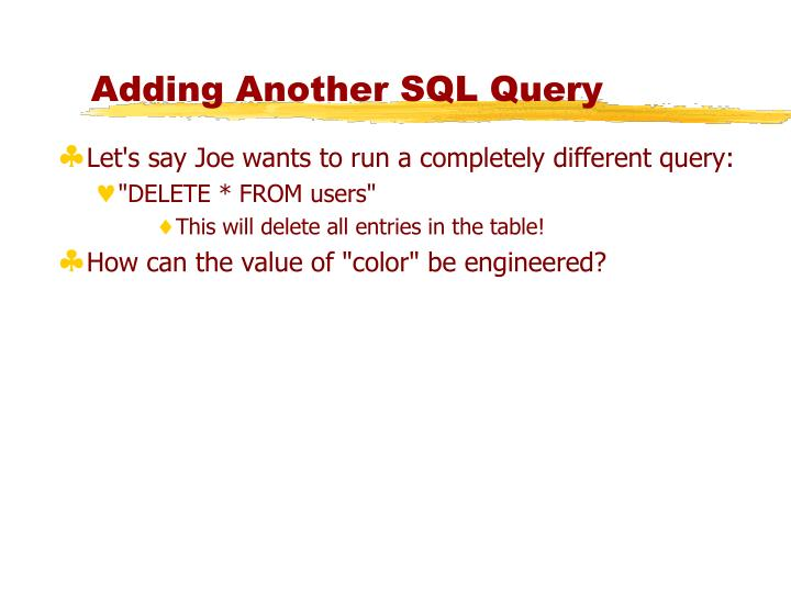 Adding Another SQL Query