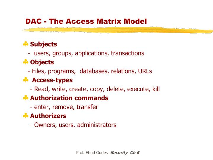 DAC - The Access Matrix Model