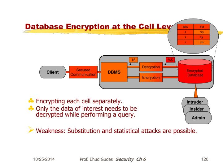 Database Encryption at the Cell Level