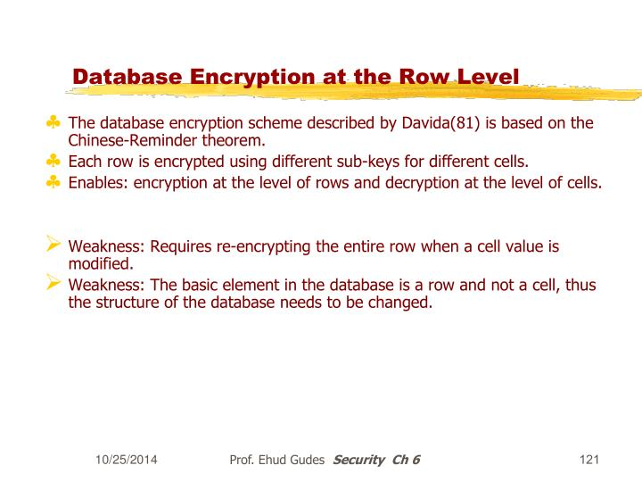 Database Encryption at the Row Level