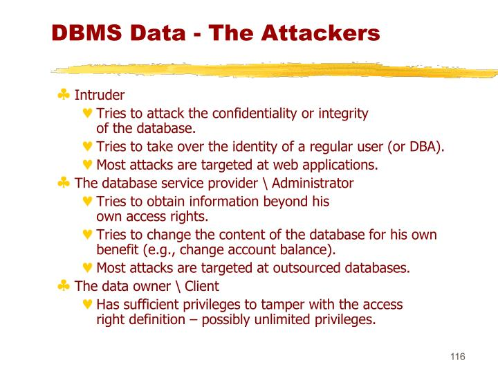 DBMS Data - The Attackers