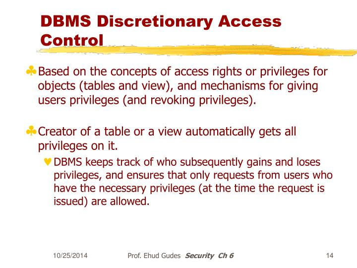 DBMS Discretionary Access Control
