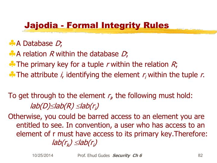 Jajodia - Formal Integrity Rules