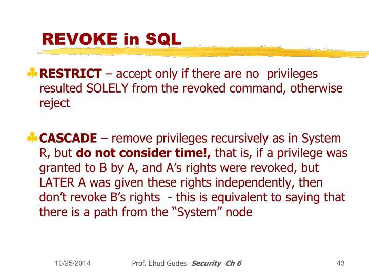 REVOKE in SQL