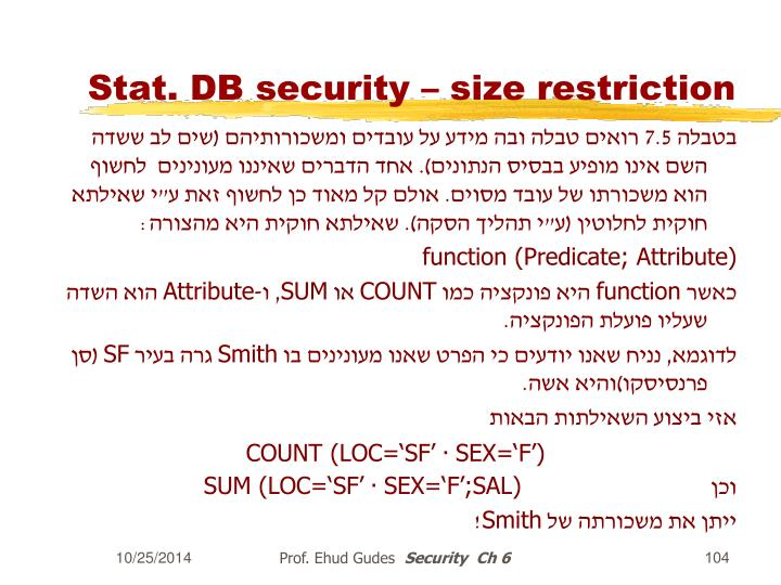 Stat. DB security – size restriction
