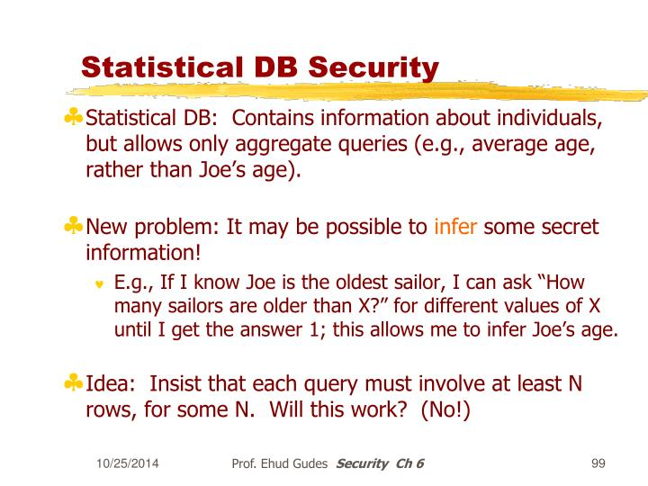 Statistical DB Security