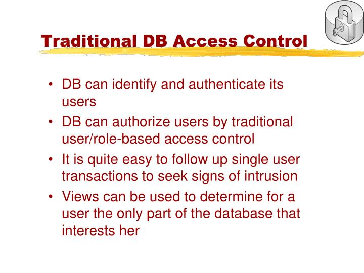 Traditional DB Access Control