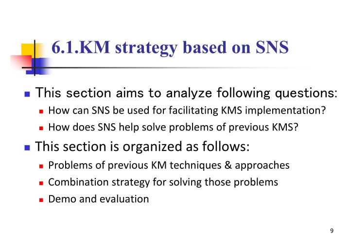 6.1.KM strategy based on SNS