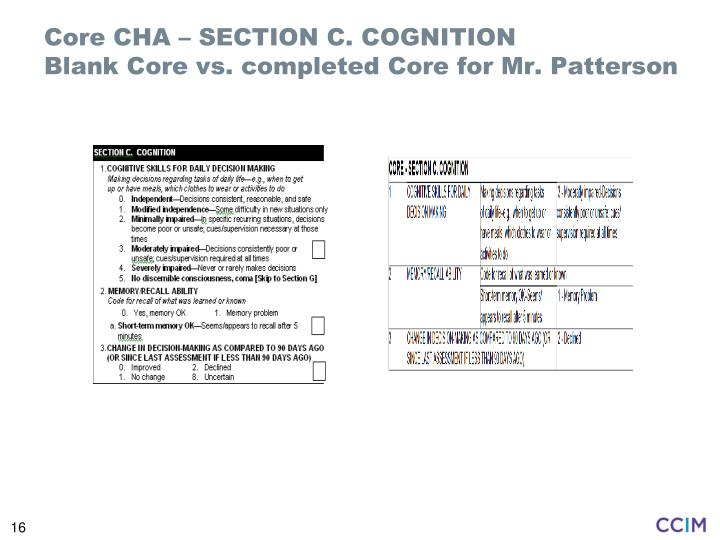 Core CHA – SECTION C. COGNITION