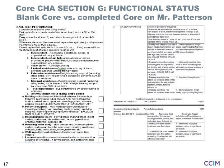 Core CHA SECTION G: FUNCTIONAL STATUS