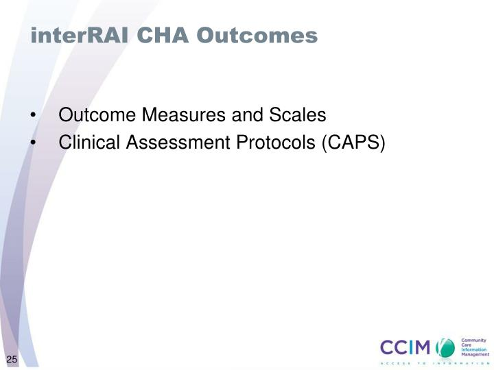 interRAI CHA Outcomes