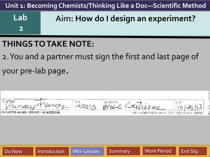 Unit 1: Becoming Chemists/Thinking Like a Doc—Scientific Method
