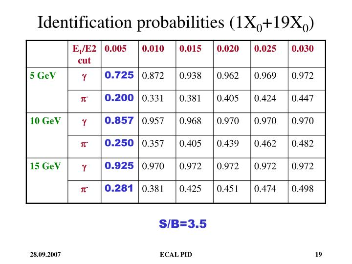 Identification probabilities (1X