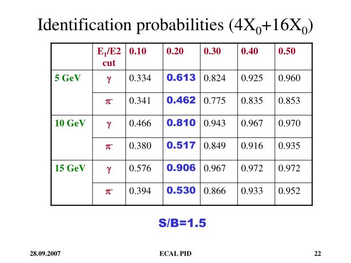 Identification probabilities (4X