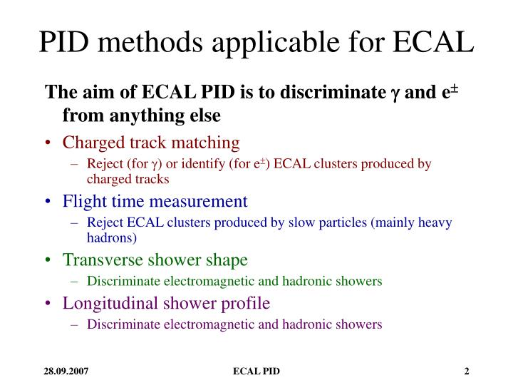 Pid methods applicable for ecal