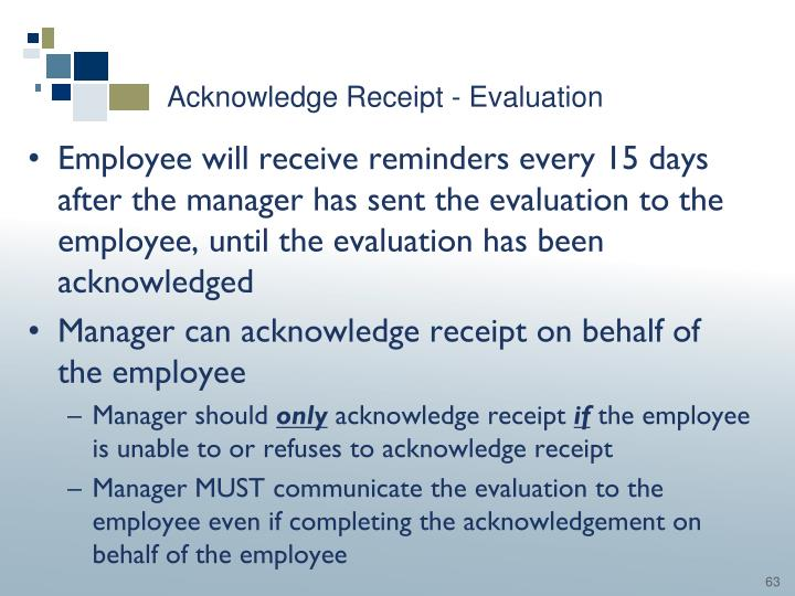 Acknowledge Receipt - Evaluation