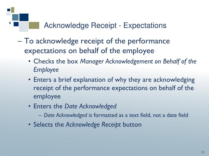 Acknowledge Receipt - Expectations