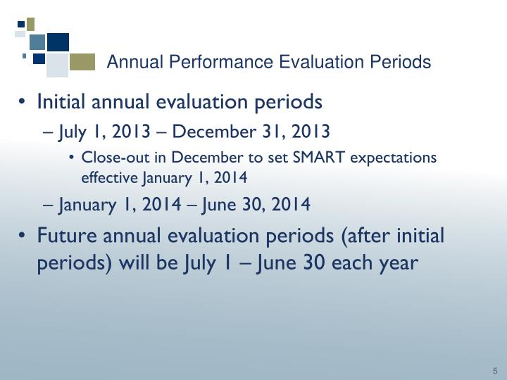 Annual Performance Evaluation Periods