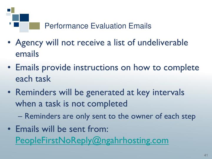 Performance Evaluation Emails