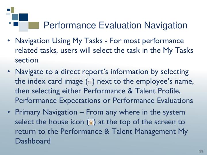 Performance Evaluation Navigation