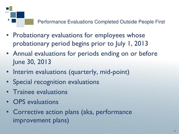 Performance Evaluations Completed Outside People First