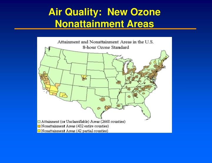 Air Quality:  New Ozone Nonattainment Areas