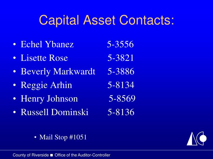 Capital Asset Contacts: