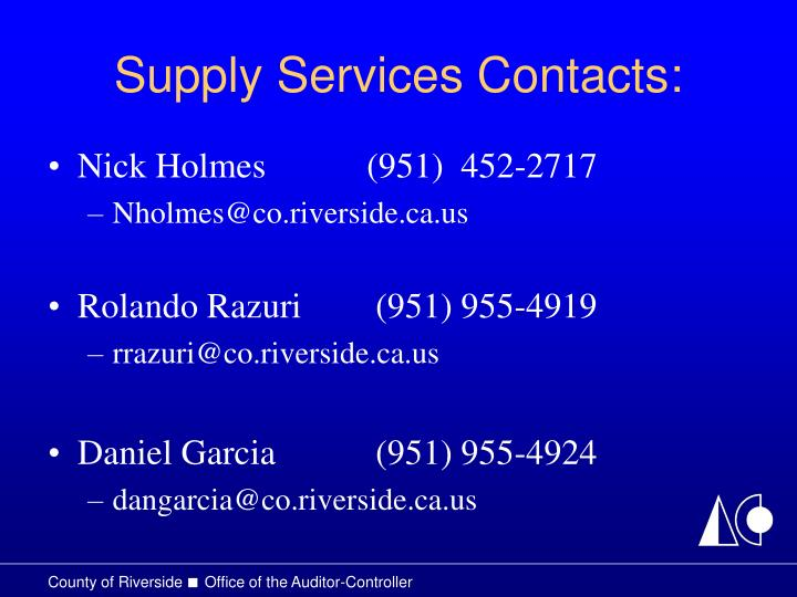Supply Services Contacts: