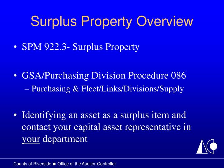 Surplus Property Overview