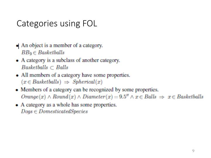 Categories using FOL
