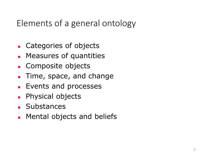 Elements of a general ontology