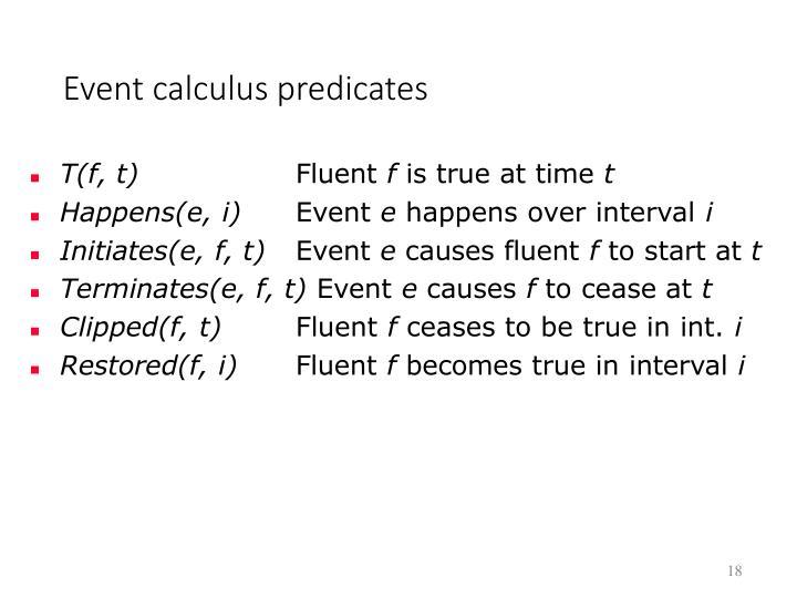 Event calculus predicates