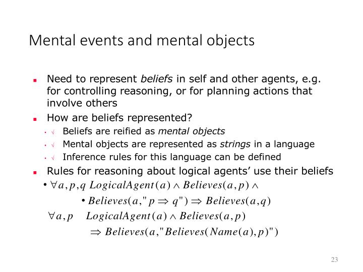 Mental events and mental objects