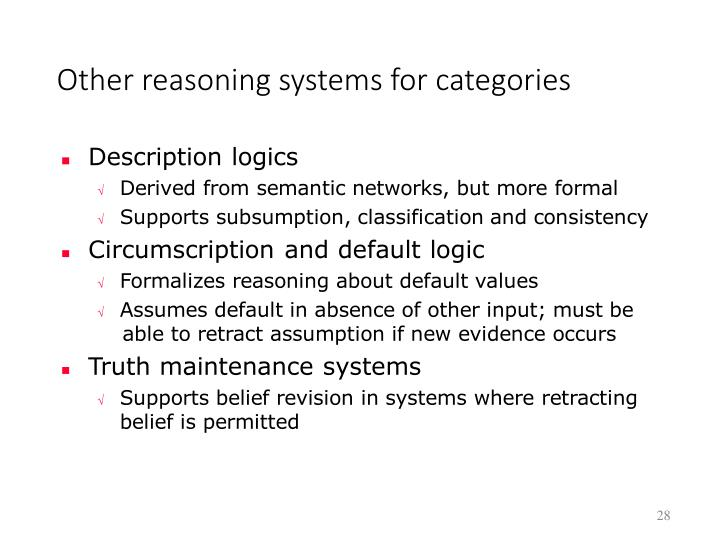 Other reasoning systems for categories