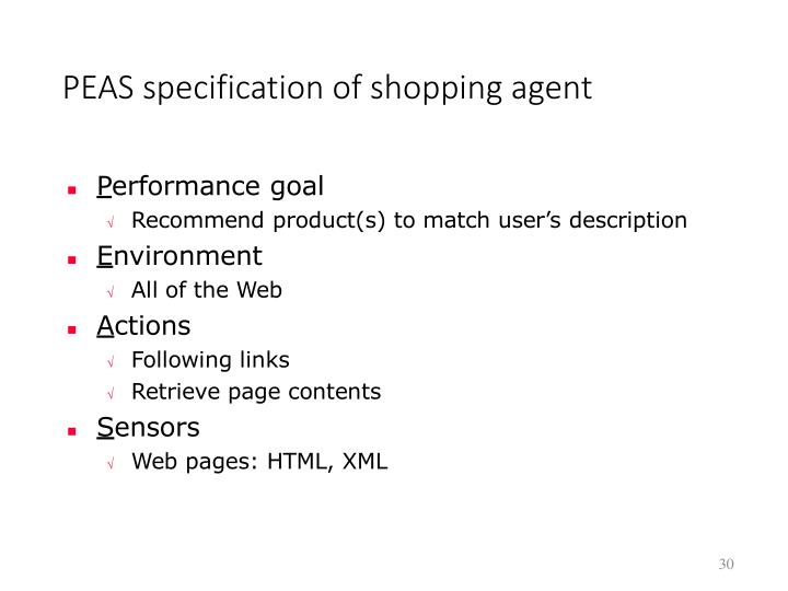 PEAS specification of shopping agent