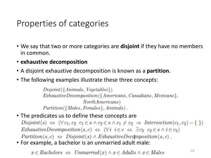 Properties of categories