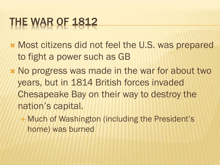 Most citizens did not feel the U.S. was prepared to fight a power such as GB